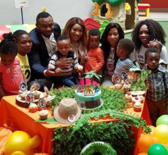 First Photos of Tonto Dikeh and her estranged hubby, Churchill Olakunle at their son, King's 2nd birthday party