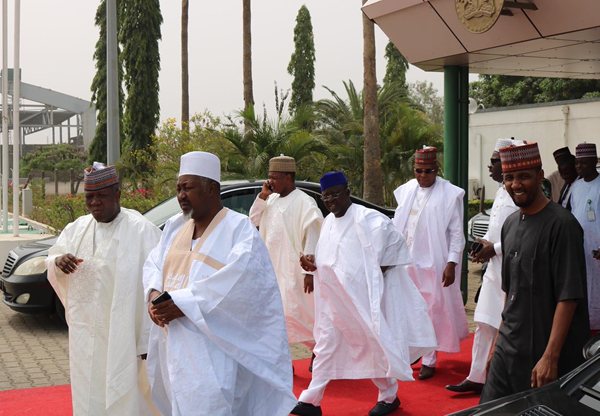 Photos: APC governors storm Katsina on four chartered planes ahead meeting with President Buhari