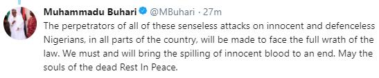 President Buhari condemns killings in Zamfara state, says perpetrators will be brought to book