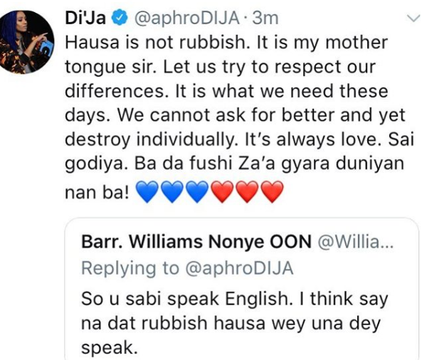 Hausa is not a rubbish language, Its my mother tongue - Dija replies fan on Twitter
