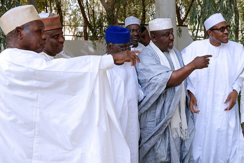 Caption this photo from President Buhari's meeting with APC governors