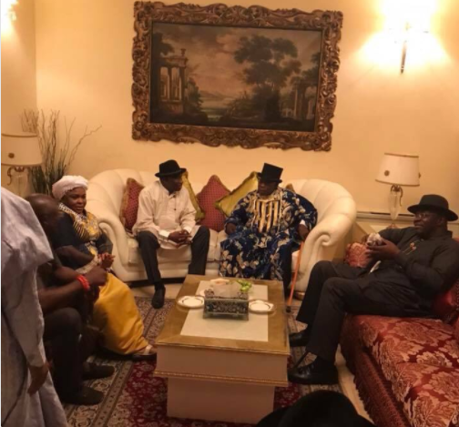 Photos: Former Presidents Olusegun Obasanjo and Goodluck Jonathan meet in Bayelsa State