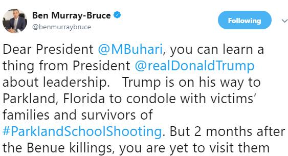 #ParklandSchoolShooting: ''Learn from President Donald Trump'' Ben Bruce tells President Buhari
