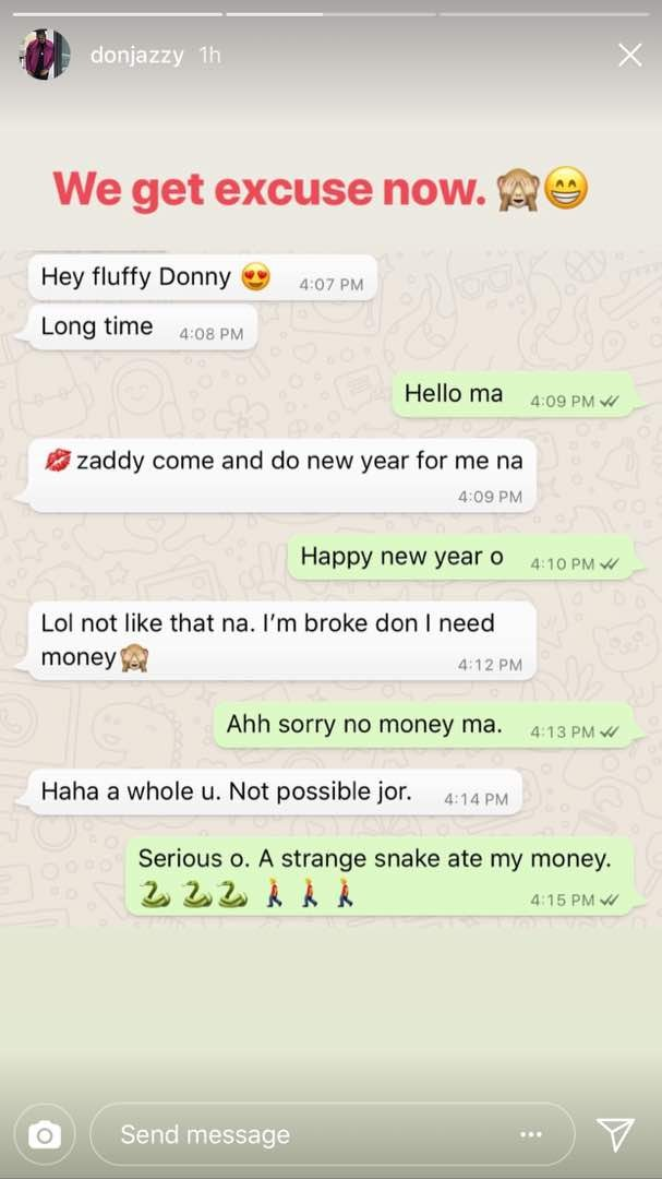 Screenshot: Don Jazzy tells female fan who asked him for money that a