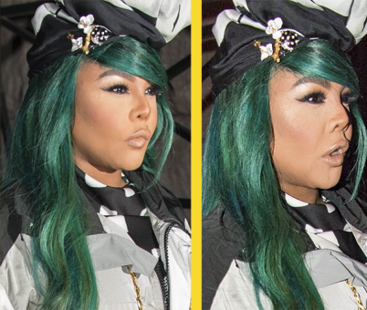 Lil Kim, her green hair and Asian looking face step out in LA (photos)