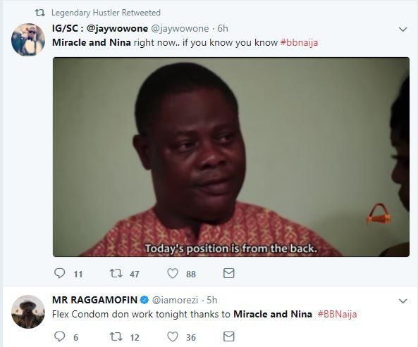 Nigerians react to Nina and Miracle having sex in the Bbnaija house this morning.