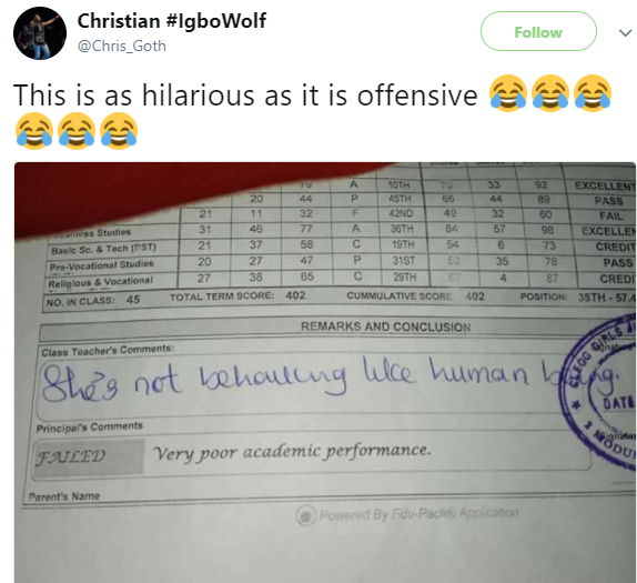 See the shocking remark a Nigerian teacher left on a pupil