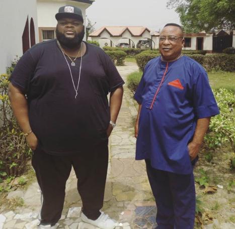 Nigerian music legend, Kollington Ayinla strikes a rare pose with his son, Big Sheff (Photos)