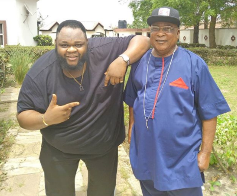 Nigerian music legend, Kollington Ayinla strikes a rare pose with his son, Big Sheff (Photos)