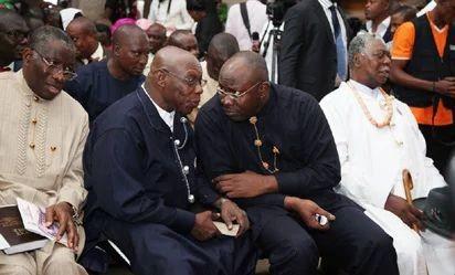 Photos: Obasanjo, Jonathan attend church service in Bayelsa