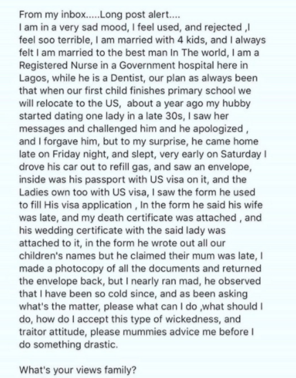 Toke Makinwa shares story of a woman who found out her cheating husband forged her death certificate on his visa application form to enable him relocate abroad with mistress