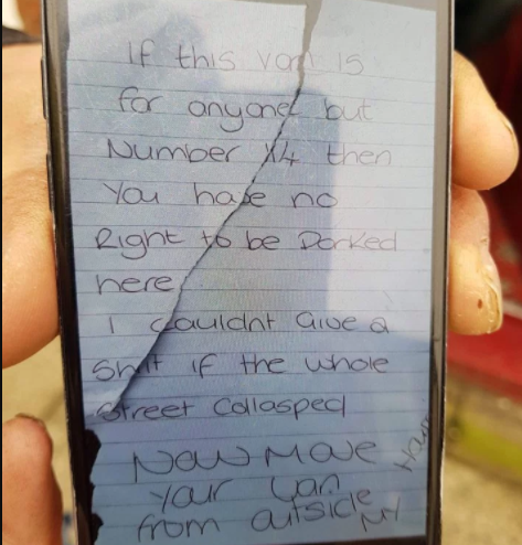 See the rude angry note a woman left on ambulance parked in front of her house