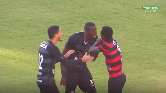 Brazilian derby clash abandoned after footballers received 10 red cards and eight yellows for throwing punches in mass brawl (Photos)