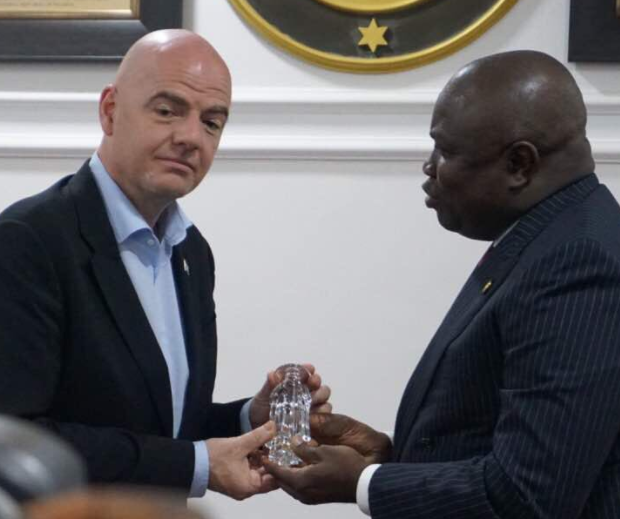 Photos:?FIFA President, Gianni Infantino pays courtesy visit to Governor?Ambode at the State House, Ikeja