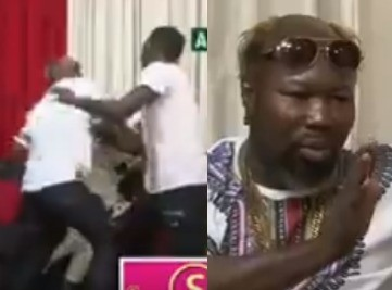 Watch the moment a Ghanaian boxer pounced on a comedian making jokes about his funny hairstyle on Live TV