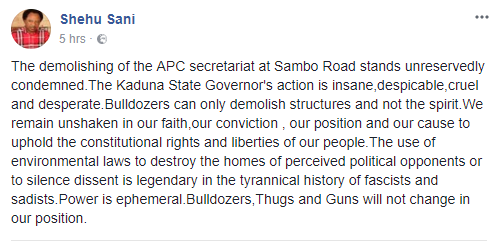 Sen. Shehu Sani condemns demolition of APC secretariat in Kaduna, describes governor El-Rufai