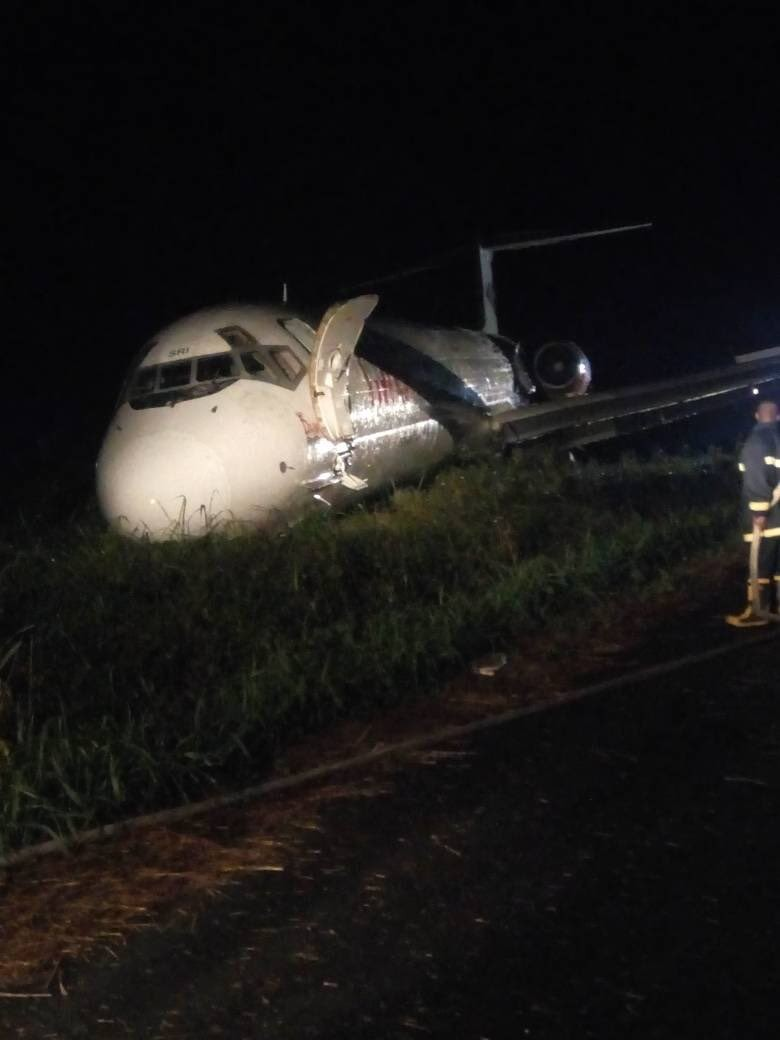 Dana aircraft overshoots runway in Port Harcourt, lands in the bush(photos)