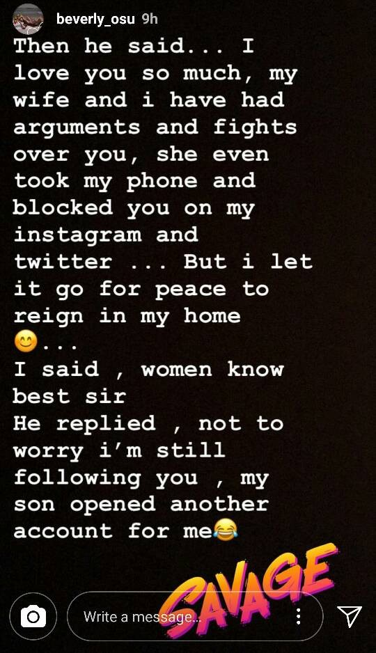 Beverly Osu meets elderly man who is obsessed with her and has had arguments with his wife because of her