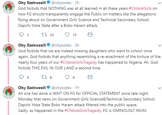 Oby Ezekwesili reacts to reports of 94 girls missing from Yobe school after Boko Haram attack