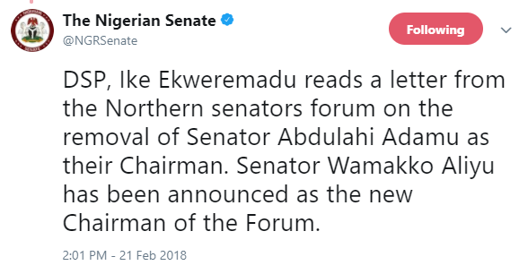 Northern Senators Forum sack?Abdulahi Adamu as their chairman, replace him with?Wamakko Aliyu