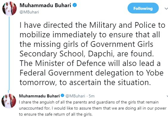 President Buhari breaks silence on 94 missing Yobe school girls, orders military to  find the girls