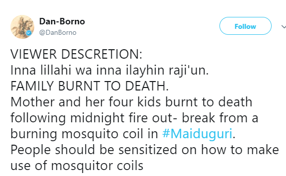 Graphic photos:?Mother and four kids burnt to death following midnight fire outbreak from a burning mosquito coil in Borno State