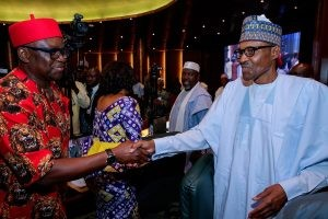 Photos: See the rare moment President Buhari came face to face with one of his worst critics, Governor Fayose
