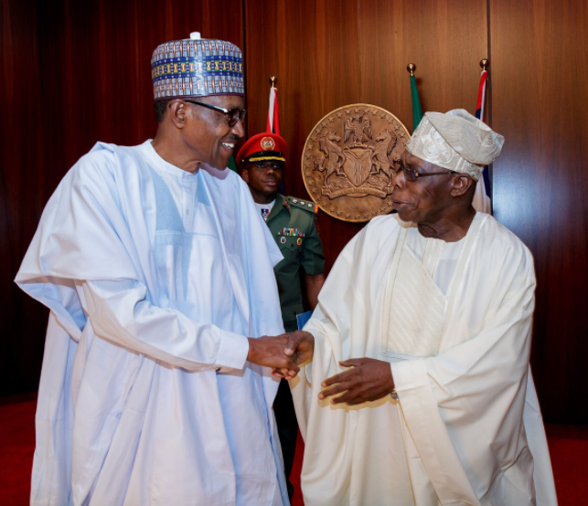 Photos:?President Buhari meets with Olusegun Obasanjo, Ayo Fayose, others in Abuja