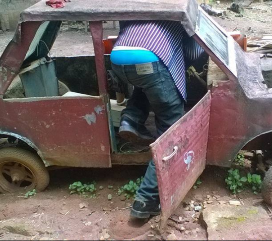 Germany-based Nigerian man shows off car his in-law made many years ago.
