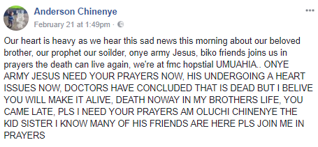 Abia state pastor allegedly resurrects at the mortuary after being declared dead