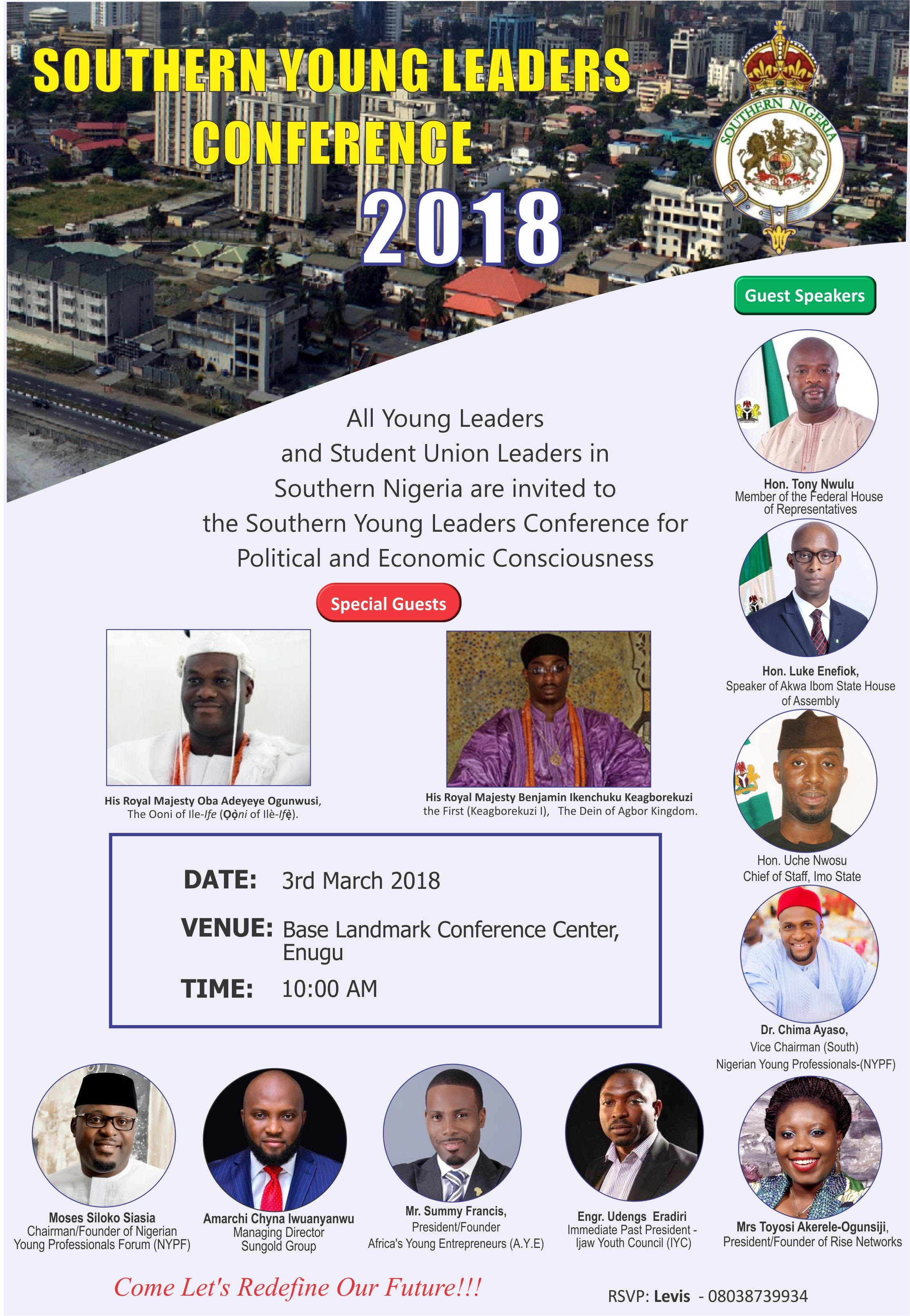 2019: Sanusi, Ooni, Dein, others for Southern, Northern Young Leaders? Conference *Event to hold in Enugu, Kano