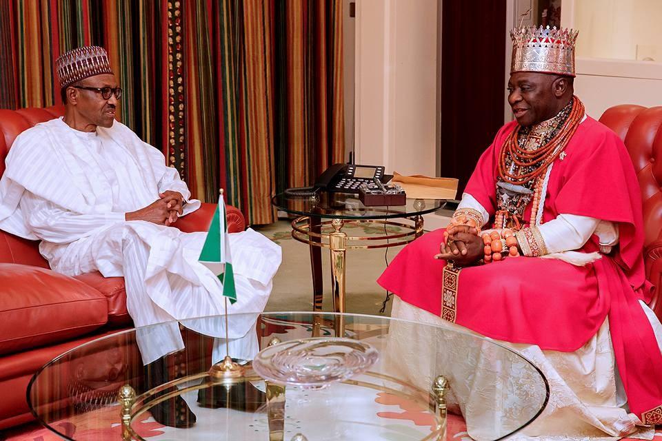 President Buhari receives Olu of Warri, HM Ogiame Ikenwoli?in Abuja (Photos)