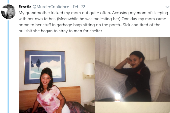 Lady shares the heartbreaking story of her late mom who was molested by her father and cousin, abandoned by her family and lived on streets