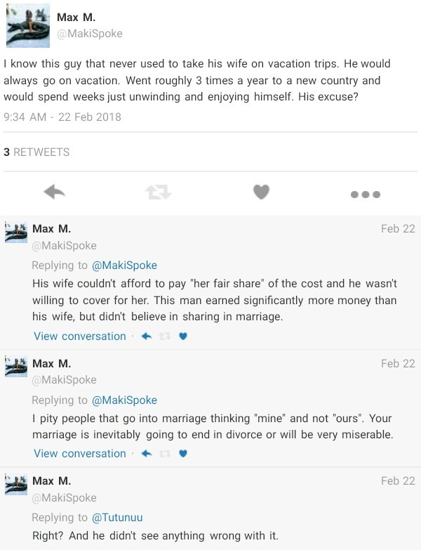 Twitter user shares story of a guy that never took his wife on vacation trips because she couldn
