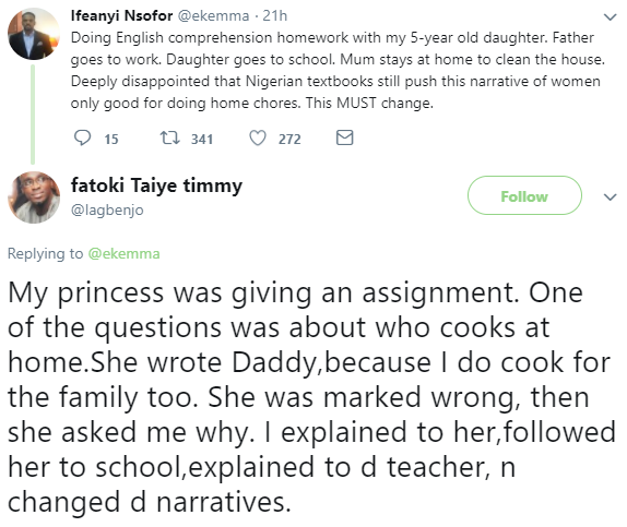 Nigerian dad follows his daughter to school to challenge a teacher who marked her wrongly for stating he does the cooking in their home