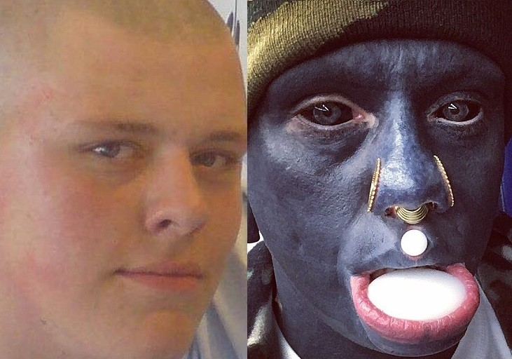 Meet the white man who has spent 10-years tattooing his body black, including the inside of his mouth and his eyes (Photos)