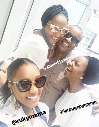 Zahra Buhari poses with husband, Ahmed Indimi, and sister-in-laws in new photo