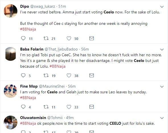 Nigerians react to Tobi replacing Bamco with Celo for possible eviction, & majority are rooting to keep Cee-C and Lolu in the Big Brother House (Screenshots)