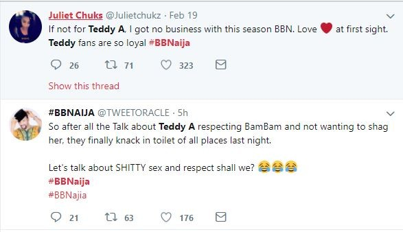 Twitter Nigeria reacts to BBN housemates Teddy A and Bam Bam having sex in the toilet (Screenshots)