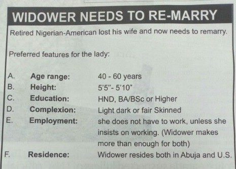 Photo: Retired Nigerian-American widower places advert on newspaper to find a wife