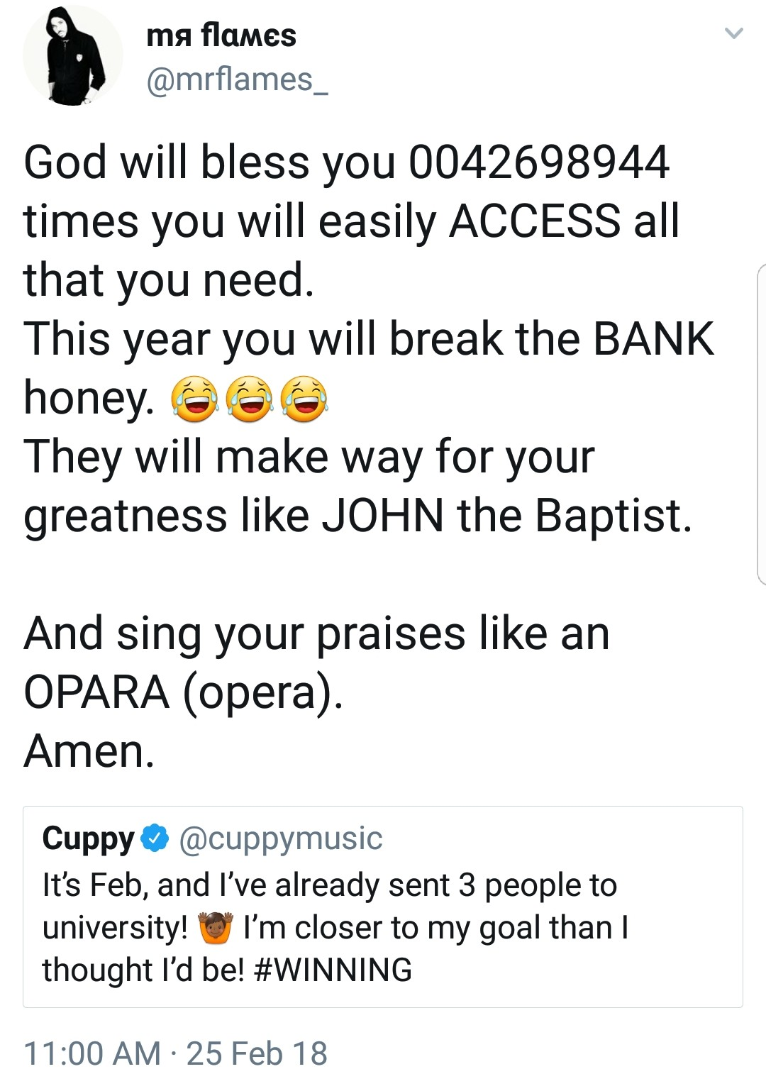 See the creative way this twitter user sent his account number to DJ Cuppy for financial assistant...lol