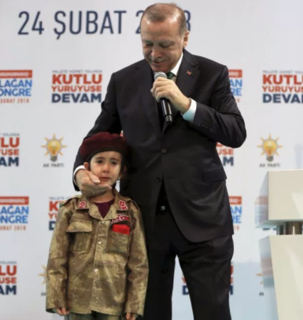 Sick! Turkish president tells crying 6-year-old girl in army uniform she will be honored if she?s?killed while fighting for the country