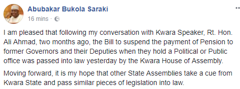Saraki commends Kwara state Assembly for passing bill suspending pension payment for ex-governors, deputies, others