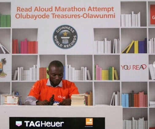 Nigerian man, Olawunmi Bayode attempts?to break a Guinness World Record by reading aloud for 120-hours