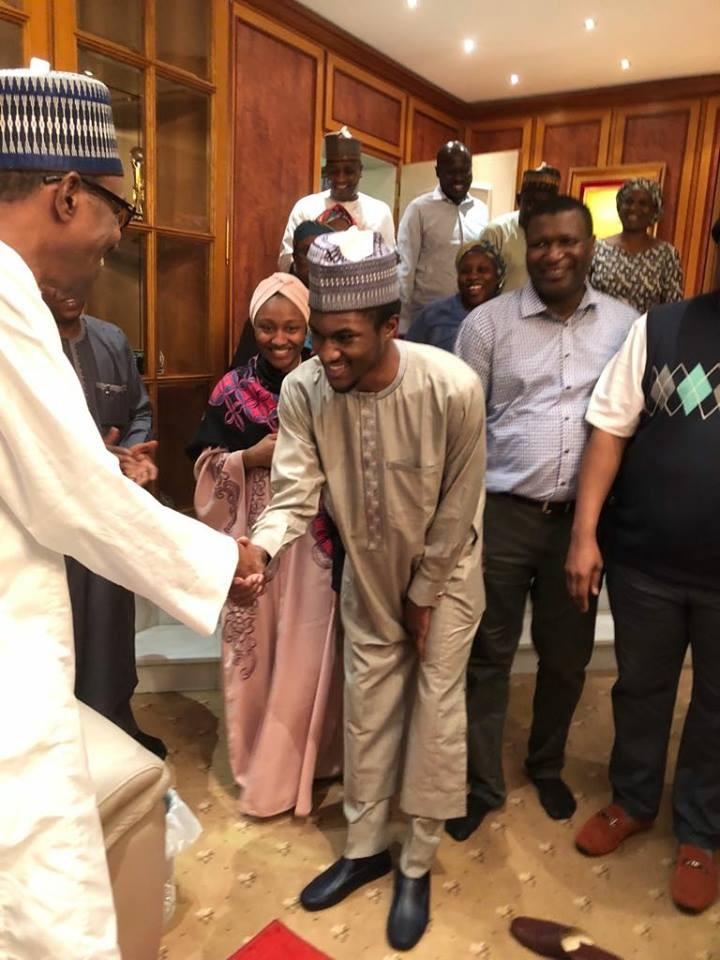 Photos: President Buhari all smiles as he meets his son Yusuf as he returns to Nigeria after medical trip to Germany