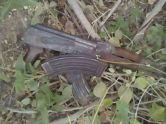 Photos: Troops recover arms at Adamawa village earlier attacked by suspected herdsmen