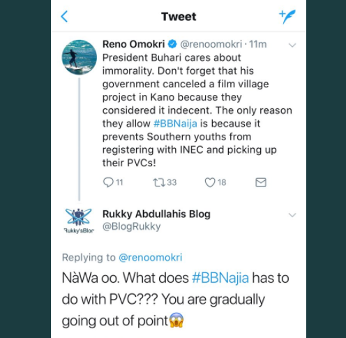 TV has dulled your mental capacity - Reno Omokri drags a #BBNaija fan on twitter