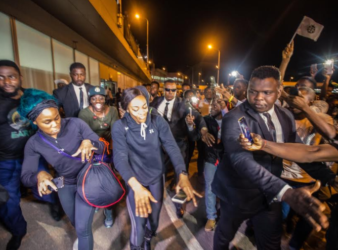 Photos: Nigerian Bobsled queens return to Lagos after Olympic debut