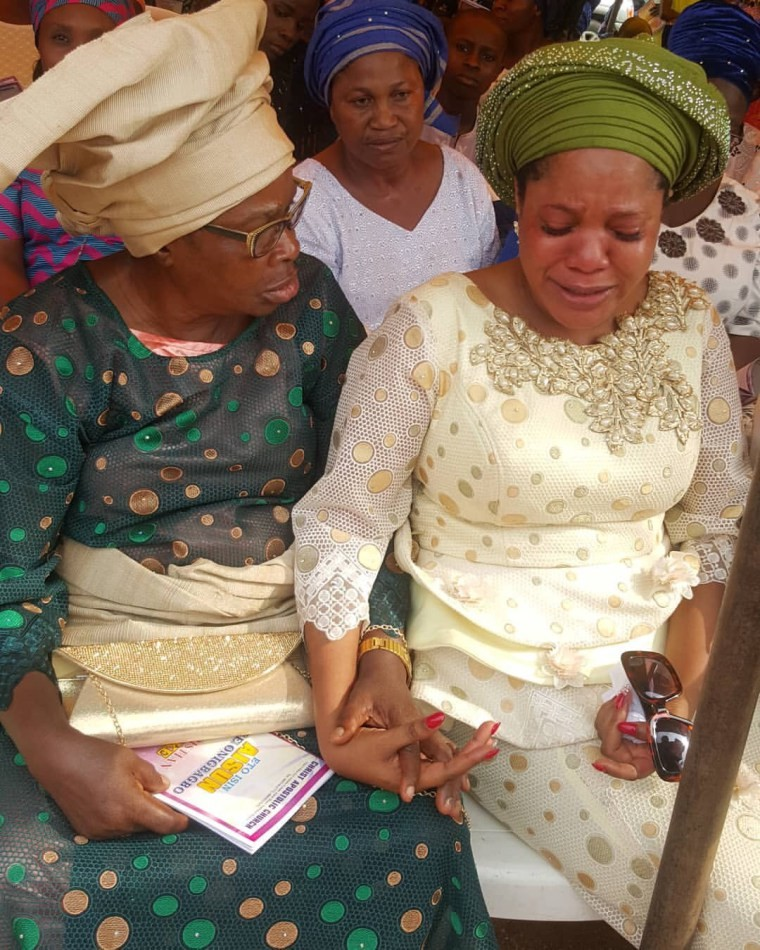 Actress Toyin Abraham weeps at her father