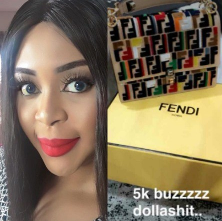 Photos: Mimi Orjiekwe shows off the N1.8m Fendi bag her new man just bought for her